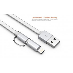 Câble 2 en 1 (Lighting+Micro-USB) LDNIO LC84 Argent 1m