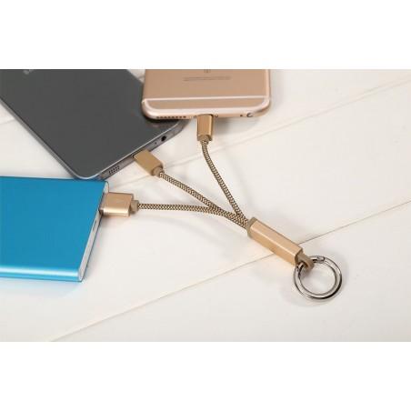 Câble 2 en 1 (Lighting+Micro-USB) LDNIO LC89 Or 2.6cm