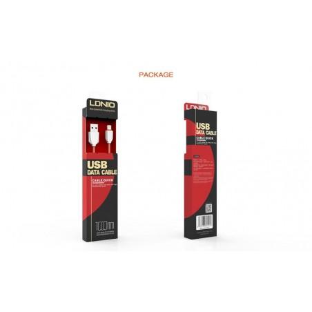 Câble Rond Micro-USB LDNIO LS07S Blanc-Vert 1m