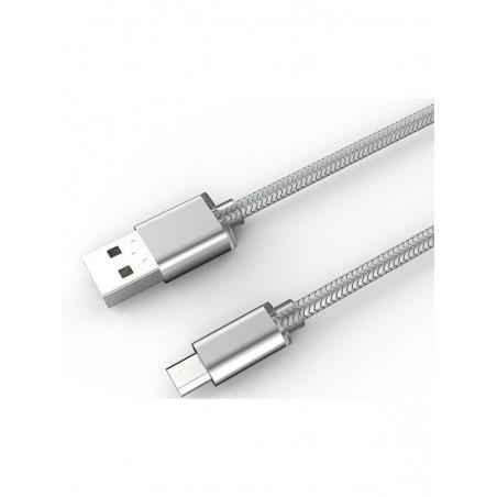 Câble Rond Micro-USB LDNIO LS17S Argent 2m