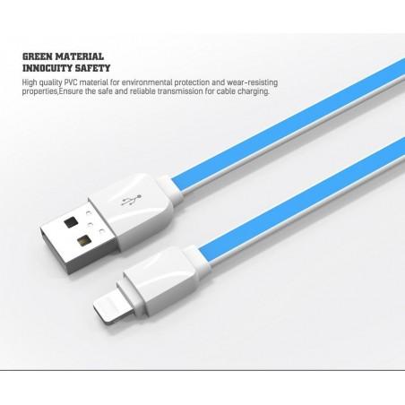 Câble Slim Lighting LDNIO XS-07AI Bleu 1m iPhone 5/6/7/7Pus/8/8 Plus/X/6s
