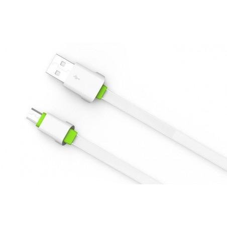 Câble Slim Micro-USB LDNIO LS01S Blanc-Vert 2m