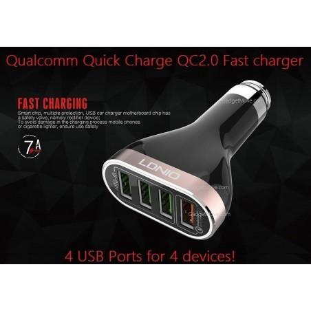 Chargeur de voiture LDNIO C701QS 4 Ports USB, 6.6A avec Câble Micro-USB