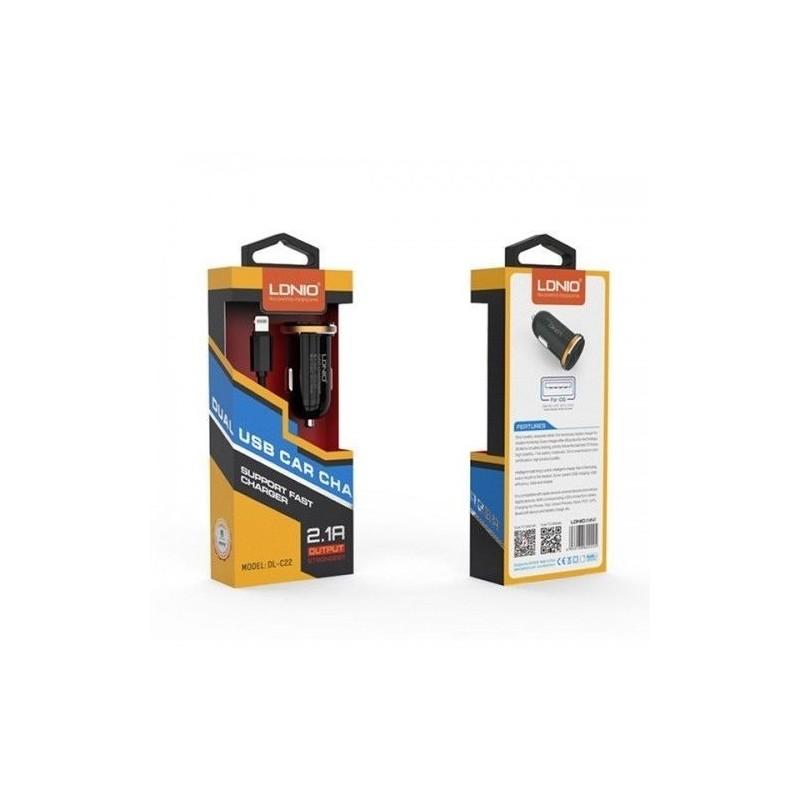 Chargeur de voiture LDNIO DL-C22S 2 Ports USB, 2.1A avec Câble Micro-USB