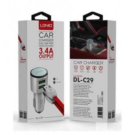 Chargeur de voiture LDNIO DL-C29S 2 Ports USB, 3.4A avec Câble Micro-USB
