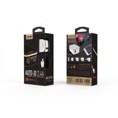 Chargeur Secteur avec câble Lighting 1 Port USB LDNIO A1204QI 2.4A iPhone