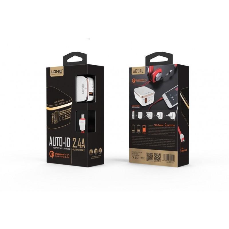 Chargeur Secteur Quick-Charge 2.0 avec câble Micro-USB 1 Port USB LDNIO A1204QS