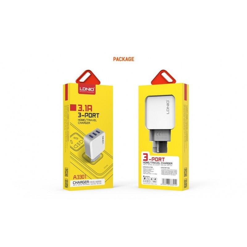 Chargeur Secteur 3 Ports USB LDNIO A3301 3.1A