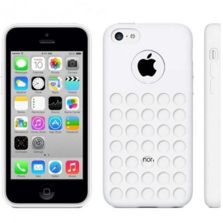Coque motif à trou en Silicone Gel (TPU) pour iPhone 5C Blanc