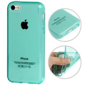 Coque lisse en Silicone Gel (TPU) pour iPhone 5C Turquoise