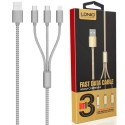 Câble 3 en 1 (Lighting+Micro-USB+Micro-USB) LDNIO LC85 Argent 1,2m