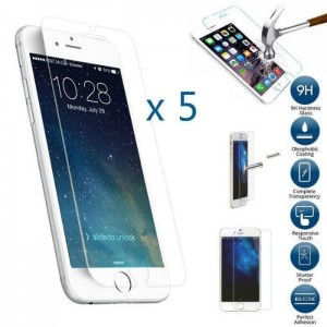 5 Verres Trempé Transparent iPhone 6, 6s, 7 et 8