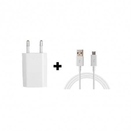 Chargeur 220v + Cable Micro-usb Blanc