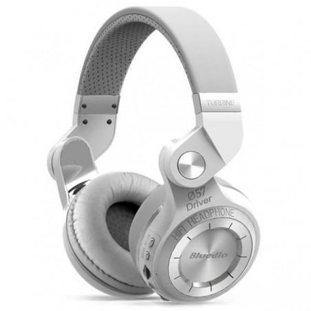 Casque Bluetooth Bluedio T2+ stéréo sans fil avec microphone carte micro-SD et FM radio Blanc