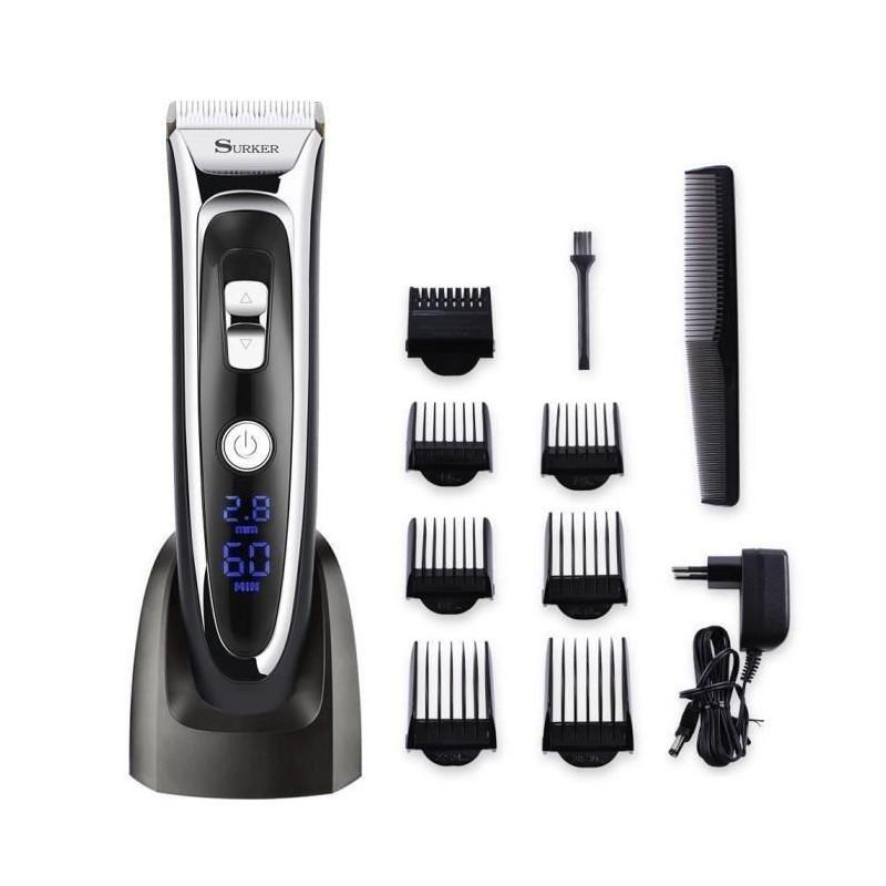 Tondeuse Cheveux Surker RFC-688B Tondeuse Barbe Electrique avec Ecran LCD Sans Fil Rechargeable avec 7 Sabots