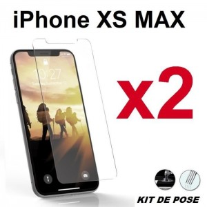 2 Verre trempé pour iPhone Xs Max Transparent
