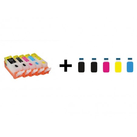 Pack cartouches rechargeables compatible Canon 520/521 + Encre 500ml