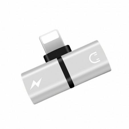 Adaptateur Double Lightning Splitter Double Charge Audio pour iPhone X 8 8+ 7+ Gris