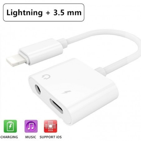 Adaptateur Jack 3.5mm casque audio & Chargeur Lightning iPhone Blanc