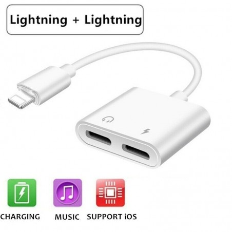 Adaptateur casque audio Lightning & Chargeur Lightning iPhone Blanc
