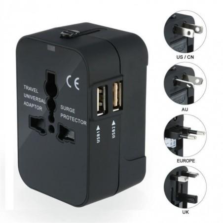 Chargeur Adaptateur de Voyage Universel, US EU UK AU avec 2 USB Ports