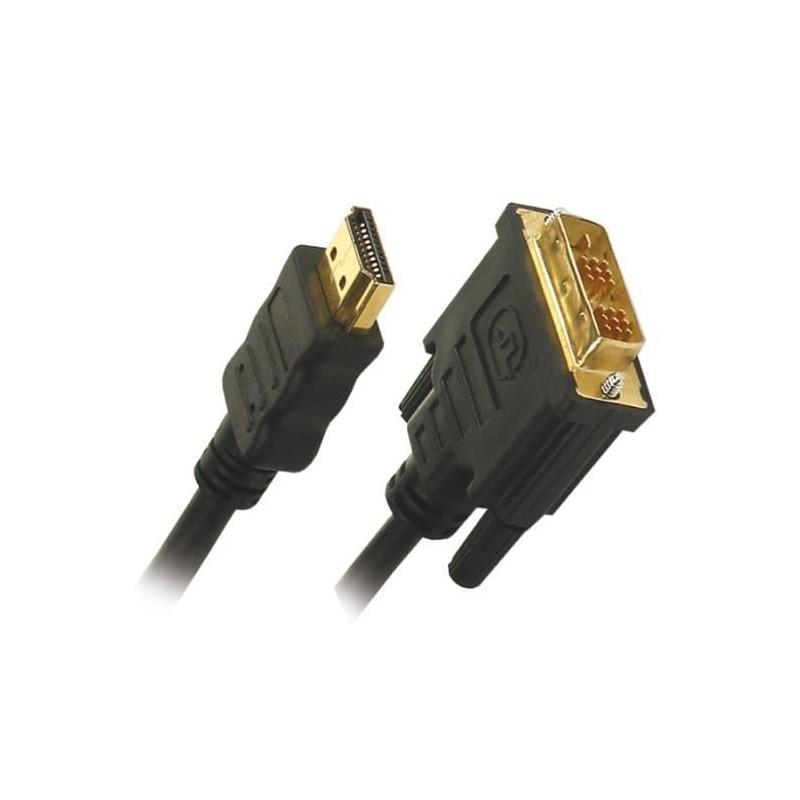 Câble HDMI High Speed Connecteur HDMI - DVI-D 24+1p Mâle  1.8m Noir
