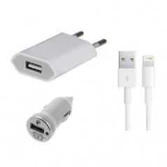 Pack 3 en 1 Chargeur - cable USB pour iPhone Lightning