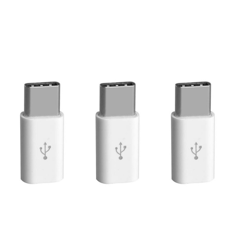 3x Adaptateurs Micro USB vers Type-c Blanc