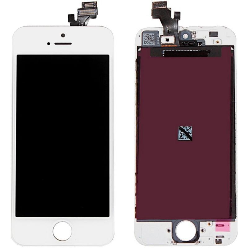 ECRAN LCD RETINA VITRE TACTILE SUR CHASSIS IPHONE 5 BLANC